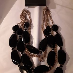 bebe necklace - black bead with gold chains